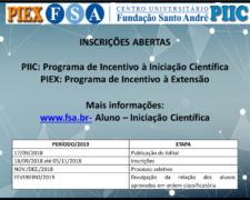 Programa Institucional de Incentivo à Iniciação Científica (PIIC/FSA) e Programa de Incentivo à Extensão (PIEX/FSA)