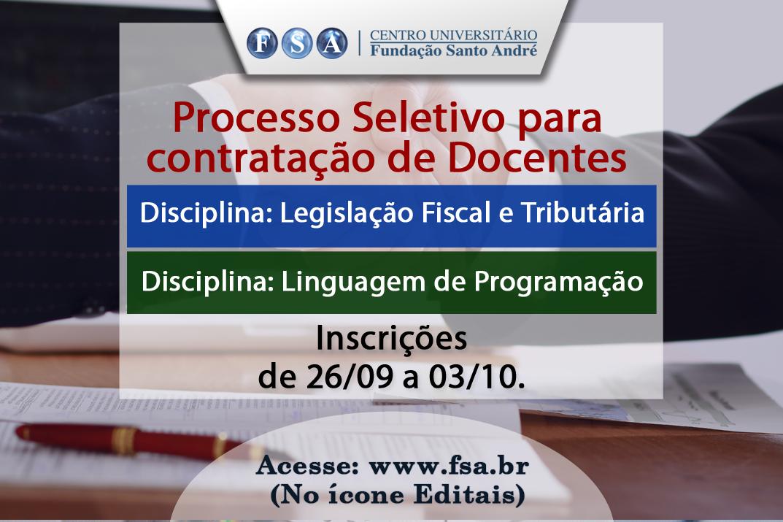 Contratação de docentes para Legislação Fiscal e Tributária e Linguagem de Programação