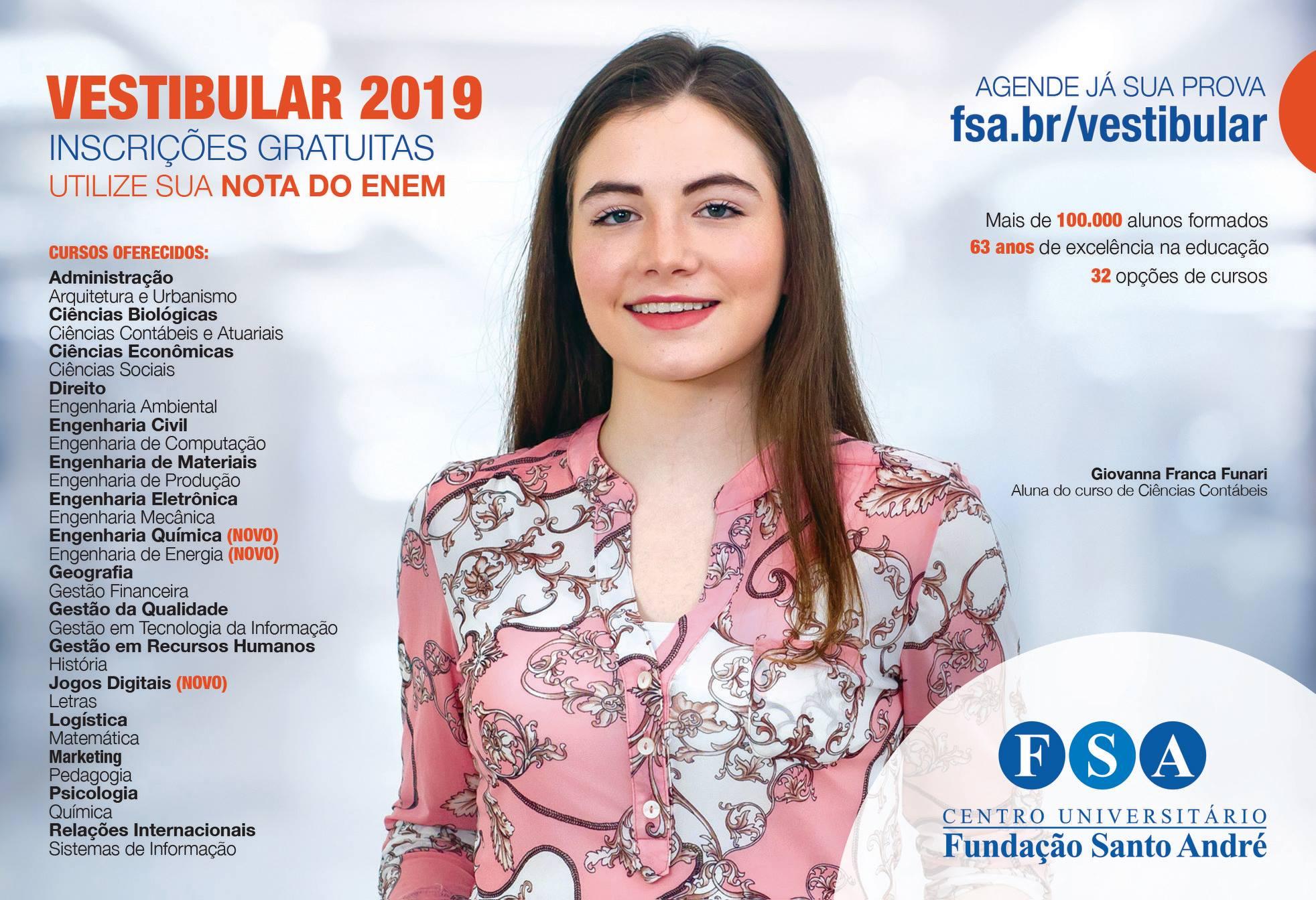 Fundação Santo André abre inscrições para vestibular 2019 e lança três novos cursos