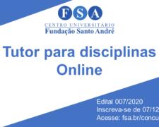 """Fundação Santo André contrata """"Tutor para disciplinas online"""""""