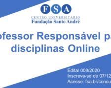 """Fundação Santo André contrata """"Professor responsável para disciplinas online"""""""