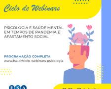Curso de Psicologia do Centro Universitário Fundação Santo André realizará Ciclo de Webinars